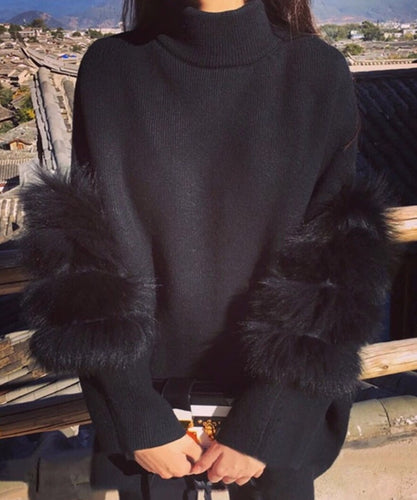 Black Opal Fur Sleeve Jumper