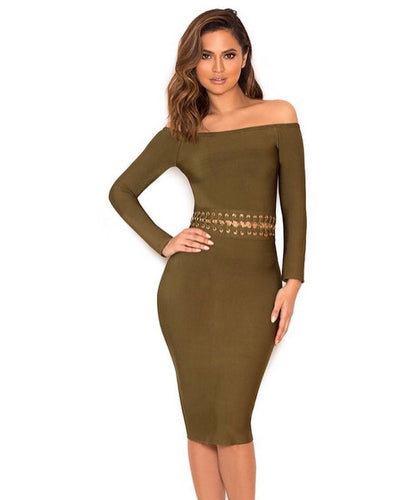 Khaki Bernice Bandage Dress