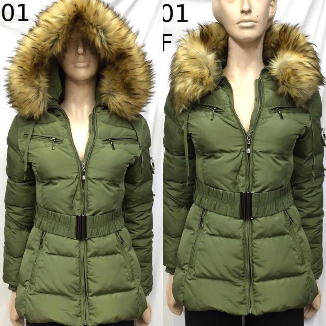 Khaki Faux Fur Quilted Coat