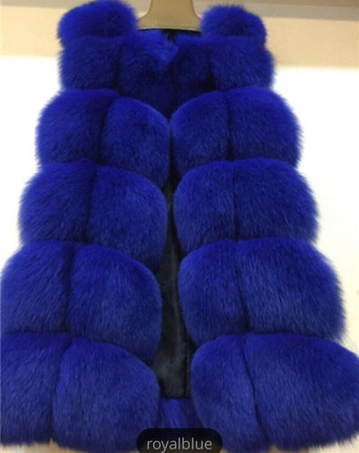 Luxury Royal Blue Fox Fur Gilet