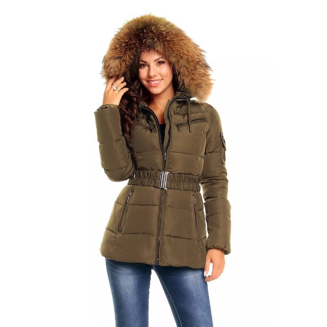 A photo of a model wearing the Khaki Attentif Paris Parka Jacket showing off the raccoon fur hood against a white background