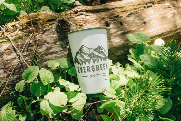 Evergreen Goods Logo Stainless Steel Pint Glass