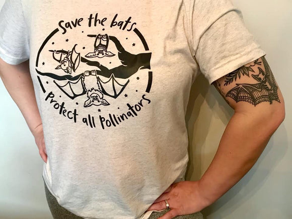 Save the Bats Adult Tee-Black Ink