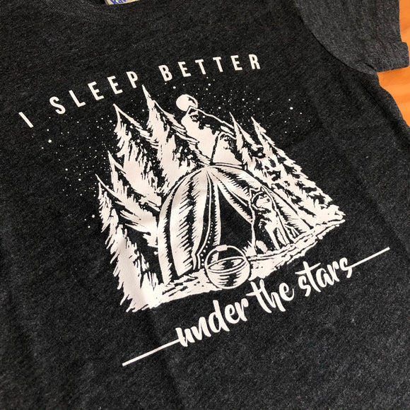 I Sleep Better Under the Stars Adult Tee