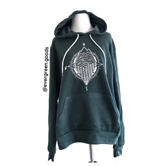 Compass | Adult Heather Forest Hoodie