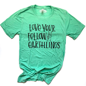 Love your Fellow Earthlings Mint Adult Crew Neck Tee