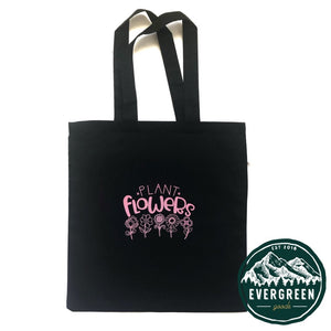 Limited Edition Pink Print Plant Flowers Tote Bag