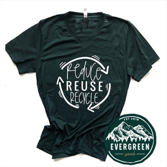 Reduce. Reuse. Recycle. Adults Tee