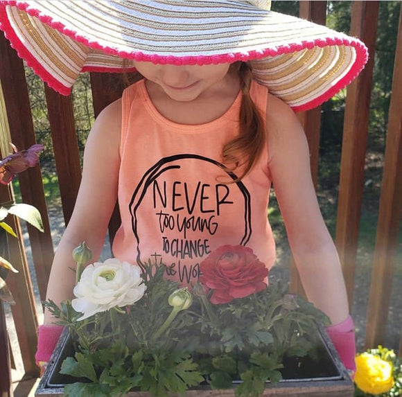 Never Too Young to Change the World Kids Tank