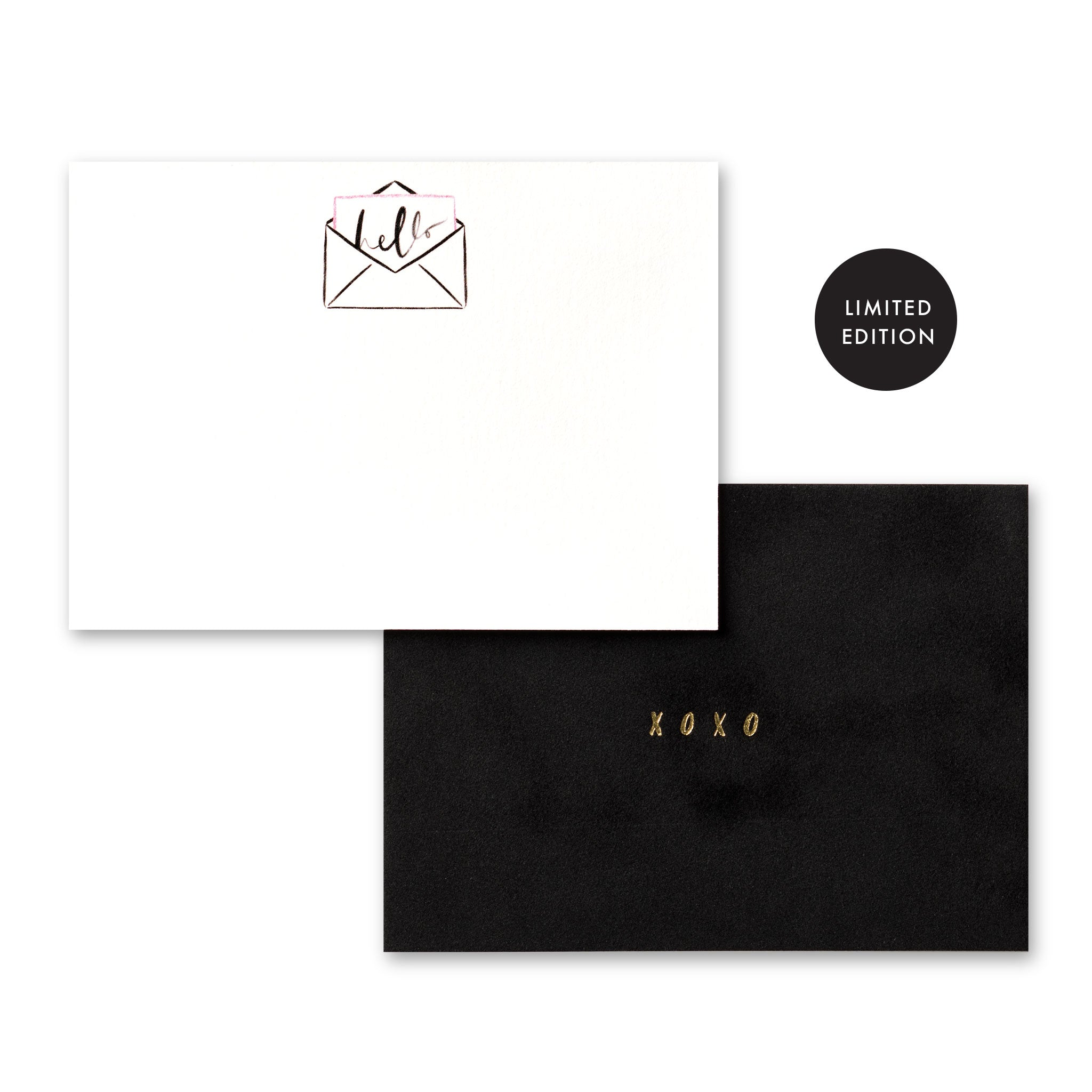 Limited Edition Artisan Velvet Note Cards: Hello/XOXO