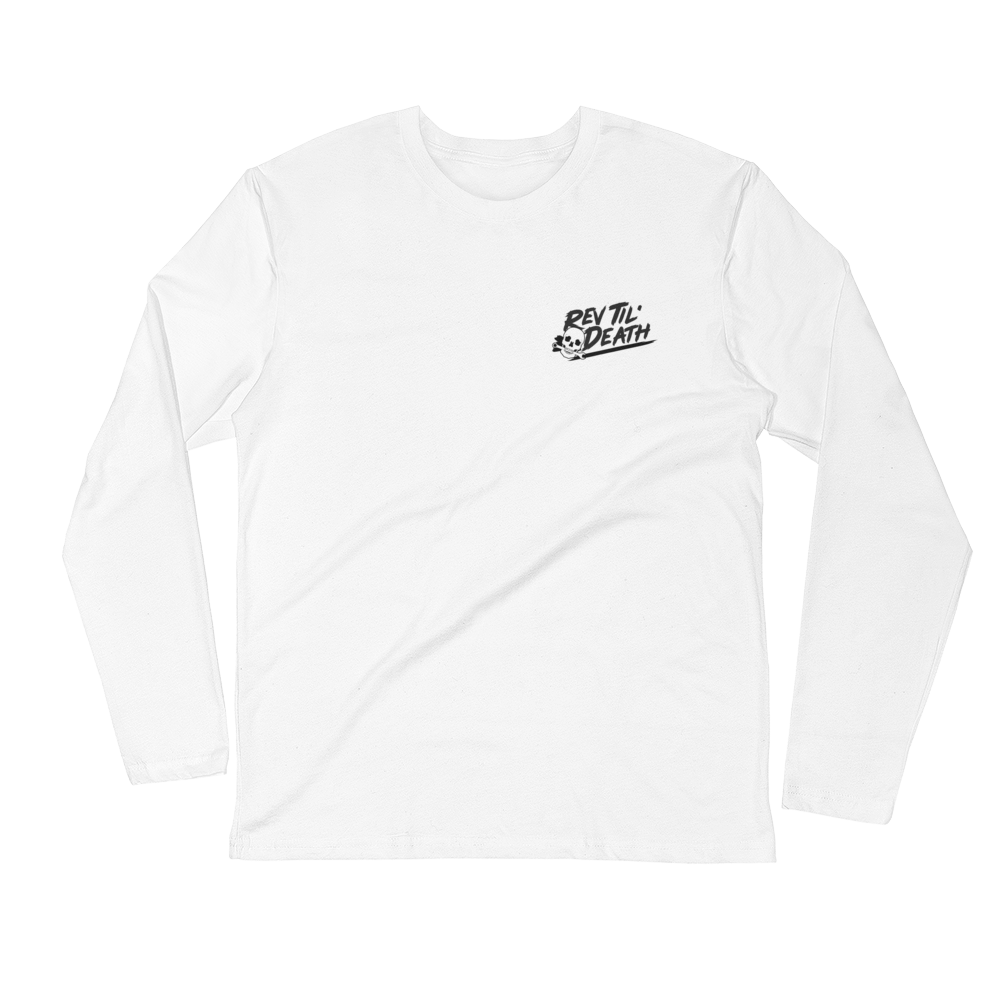 Rev Til' Death - throtl Grit - White Long Sleeve Fitted Crew