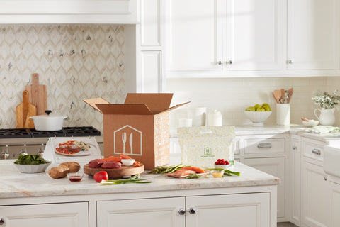 Home chef box on kitchen counter get $95 off