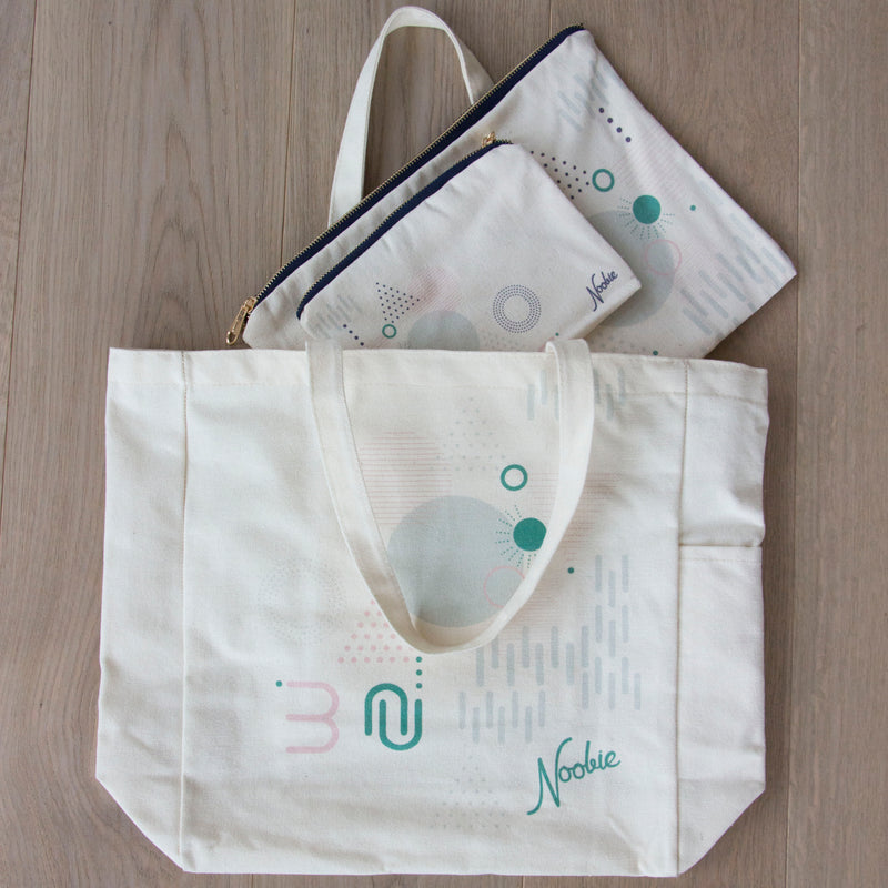 On-the-go bundle: tote + pouches