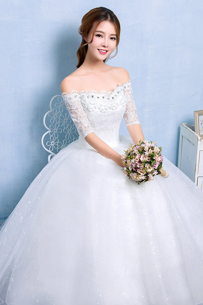 030d00f211e4 2017 New Arrival Lace Boat Neck Lace Up Ball Gown Princess Wedding Dresses  Handmade Grown Vestidos