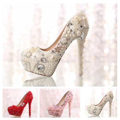 f5460520e7b women shoes Love pearl rhinestone wedding shoes platform white bride  crystal shoes high-heeled shoes