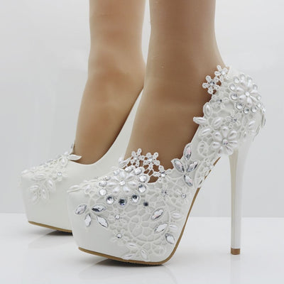 07f95da56 Elegant heels fashion white lace flower rhinestone pumps wedding shoes for  women red color white pumps