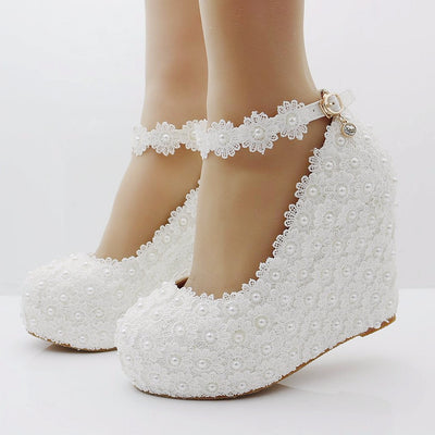 White lace wedges shoes pumps high heels wedges heels platform wedges women  shoes lace and pearls 917eaae6cbdc
