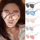 Twin-Beams Geometry Design Women Metal Frame Mirror Sunglasses Cat Eye Glasses