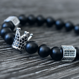 Silver Royal Agate (Limited Edition) - Black Bead Bracelet