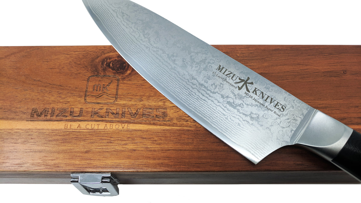 "Mizu 8"" VG10 Damascus Japanese High Carbon Chef's Knife"