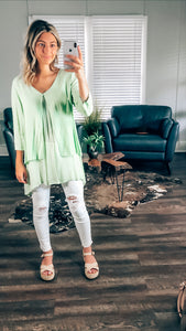 Green With Envy Lien Flowy Top