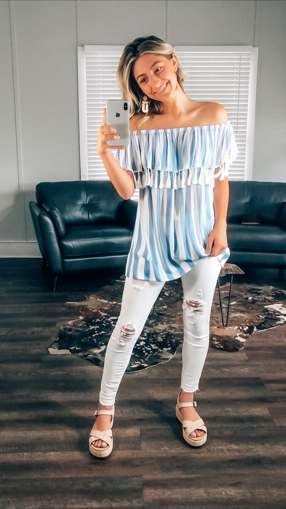 Brenda Striped Off The Shoulder Top