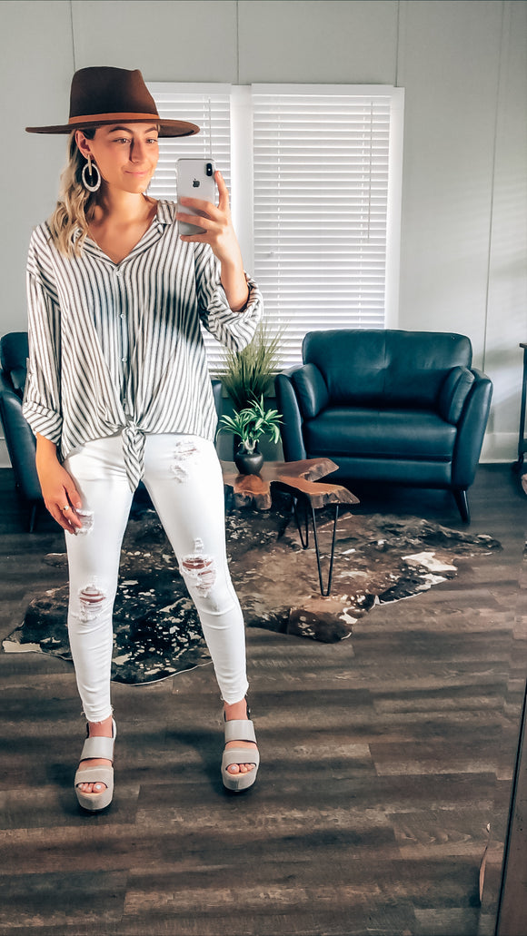 Tina Grey and White Striped Top