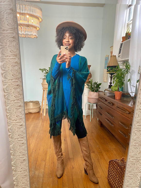 Kori Teal and Hunter Green Knit Kimono
