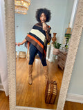 Tammy Striped Fringe Poncho