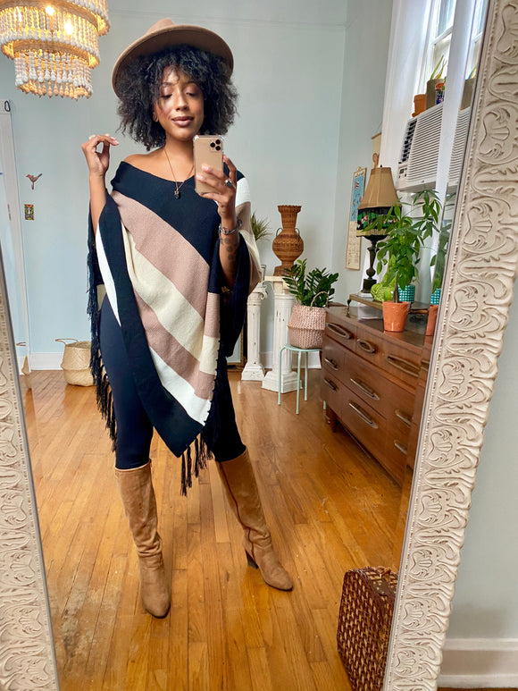 Brandi Striped Fringe Poncho