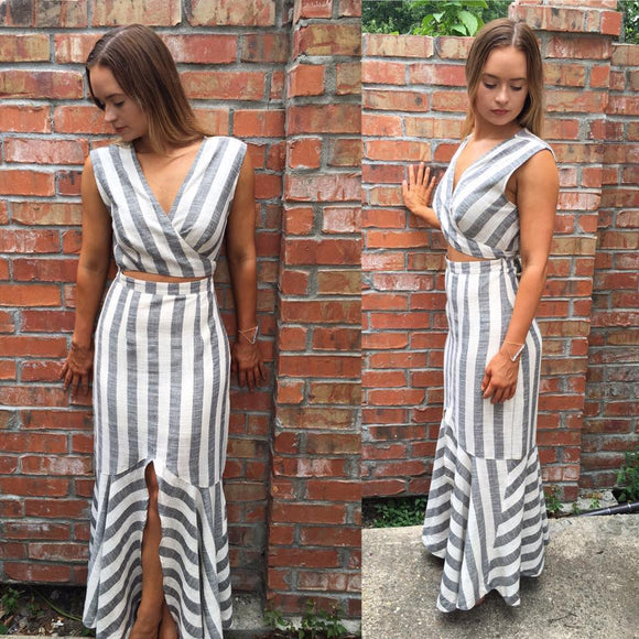 Amie White and Grey Striped Maxi Dress