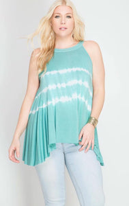 Darlene Turquoise Sleeveless Tie Dye Top