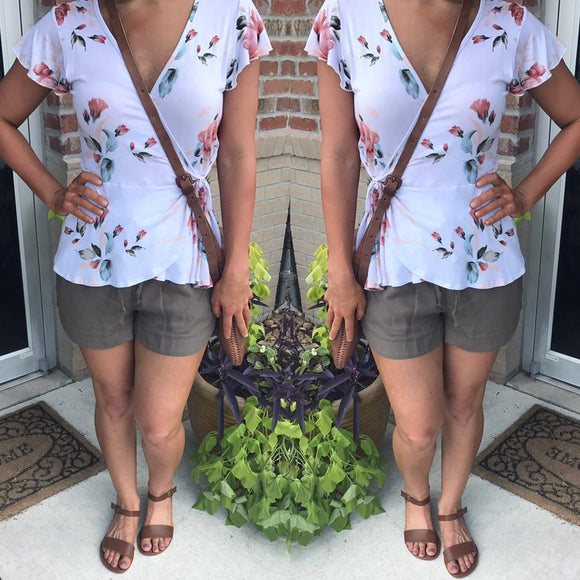 April Floral Wrap Top