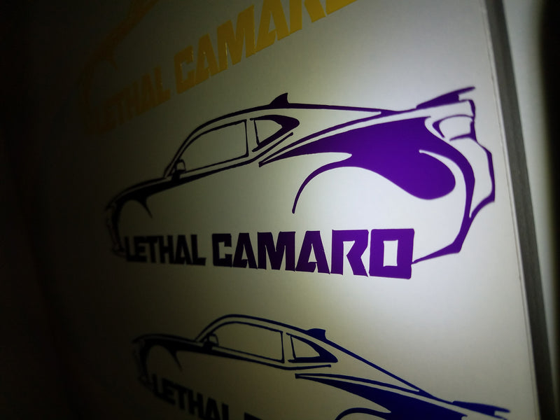 Yellow and Purple Sixth Gen Lethal Camaro Decals Have Arrived