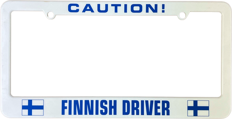 Caution Finnish driver license plate frame