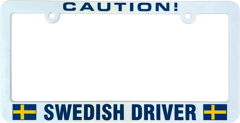 Caution Swedish driver license plate frame
