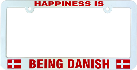 Happiness is being Danish license plate frame