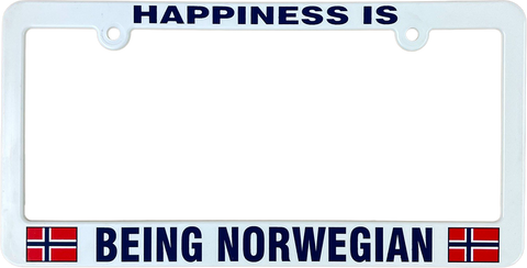 Happiness is being Norwegian license plate frame