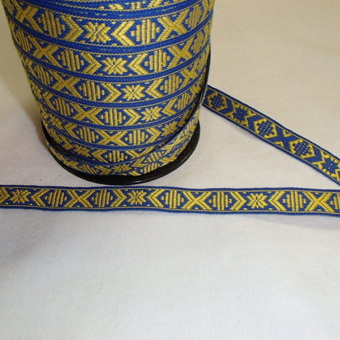 Fabric Ribbon Trim by the yard - Yellow & blue