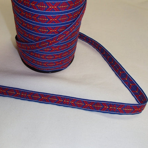 Fabric Ribbon Trim by the yard - Red & blue