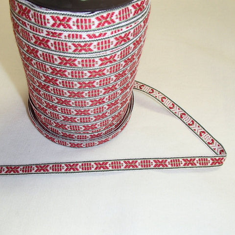 Fabric Ribbon Trim by the yard - Red, white & green