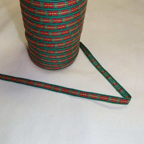 Fabric Ribbon Trim by the yard - Red & green
