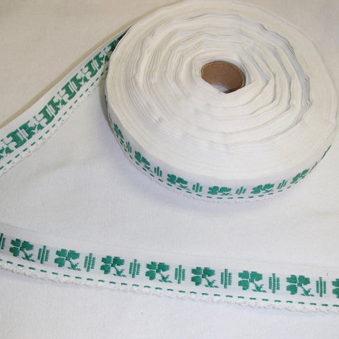 Fabric Ribbon Trim by the yard - White with Shamrocks