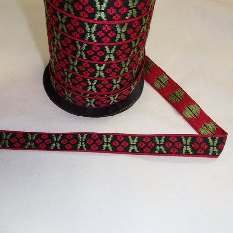 Fabric Ribbon Trim by the yard - Red Berries on Black