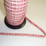 Fabric Ribbon Trim by the yard - Red Hearts on Creme