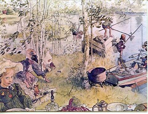 Boxed Note Cards, Carl Larsson Catching crayfish