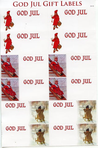 Carl Larsson God Jul Gift Label Stickers