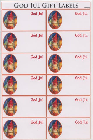 God Jul Tomte Gift Label Stickers
