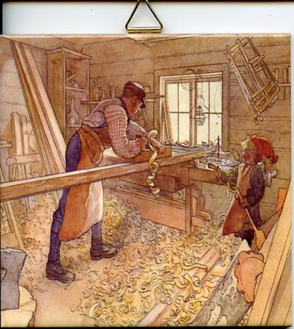 "6"" Ceramic tile, Carl Larsson Carpenter's workshop"