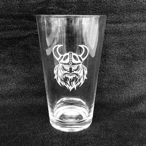 Etched 16oz pint glass - Viking